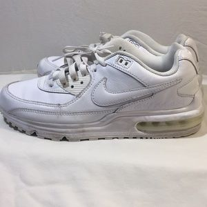 All white Nike AirMax. US men's size 9.5